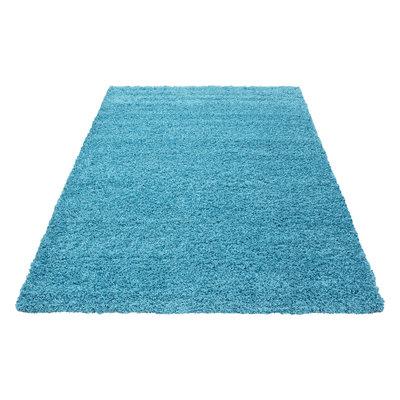 Turquoise hoogpolig vloerkleed Fair 4000/AY