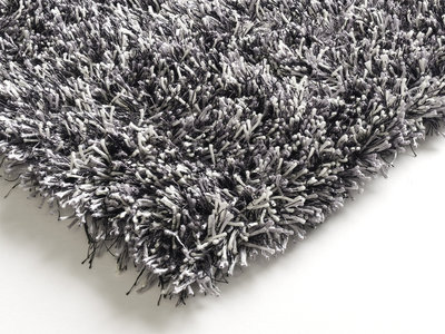 Zwart wit hoogpolig vloerkleed Alaska 901