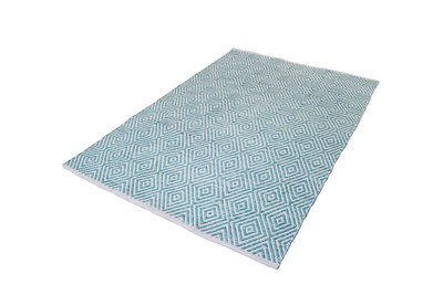Aanbieding zuiver wollen vloerkleed Retif Turquoise