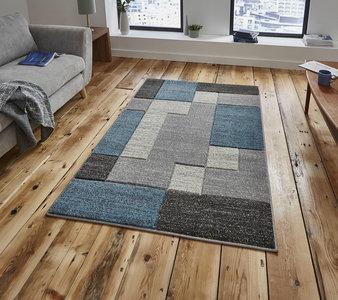 Vloerkleed Madras kleur grijs blauw A0221 - eurocarpets